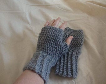 Grey Fingerless Gloves, Adult Grey Fingerless Gloves, Adult Fingerless Gloves, Grey Gloves, Adult Grey Gloves,