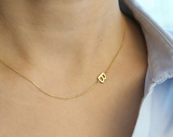 14K Real Gold Sideways Initial Necklace- Personalized Necklace - Personalized Bridesmaids Gifts -  Letter Necklace Gold Jewelry