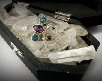 herkimer diamond, blue topaz & amethyst sterling ring
