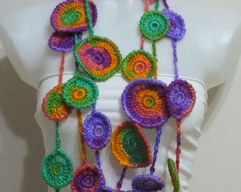 Crochet lariat scarf Colorful Crochet necklace Crochet jewerly  Fashion accessories Women Fashion
