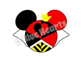Queen of Hearts Mickey Head SVG Studio, Alice in Wonderland Mickey Head SVG dxf pdf Studio, Disney Villain SVG dxf pdf Studio