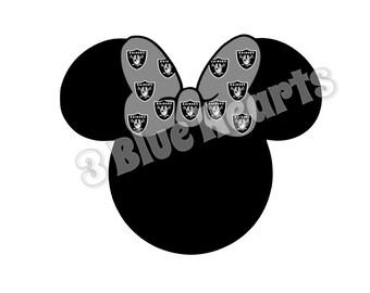 Raiders Minnie Head svg dxf pdf studio jpg, Football Mickey Head