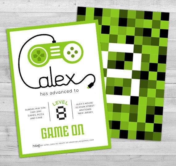 Video Game Invitation Gamer Party Invitation Video Game