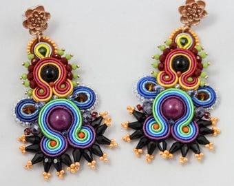 Rainbow soutache earrings