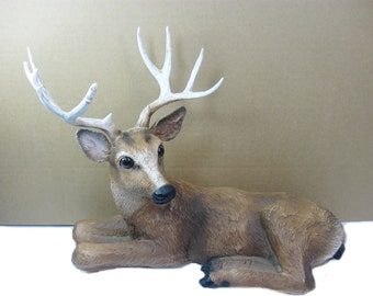 1984 HOMCO Deer Figurine, Reindeer Statue, Collectible Animal Figurine