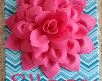 Personalized 3D Felt Flower Canvas Art Custom Felt Flower Canvas Art Felt Art with Glitter Girls Canvas Decor