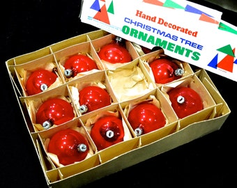 20% OFF *** VINTAGE: 11 Poland Santa Land Mercury Glass Ornaments in Box - Christmas Ornaments - Maid in Poland - Red Ornaments - (00007194)