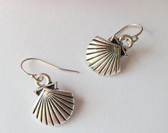 Antique Silver Sea Shell Earrings.