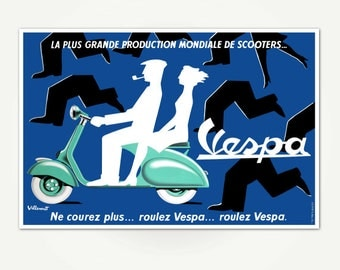 Vintage French Vespa Scooter Poster Print - Mid-Centuy Vespa Advertising Poster Art