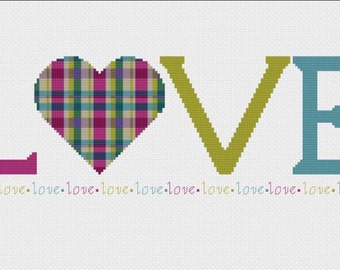 Love Tartan Modern Cross Stitch Pattern - PDF Only - Instant Download