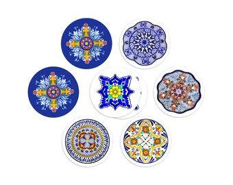 Assorted Talavera sticker seals - 1.5 inch round stickers - pack of 8
