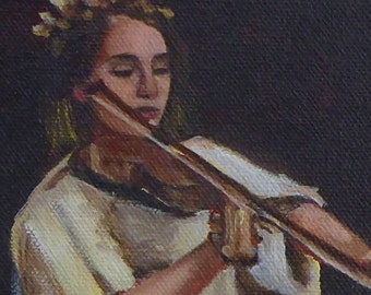 small oil painting, original art - study of a violinist - figurative study by Anita Dewitt