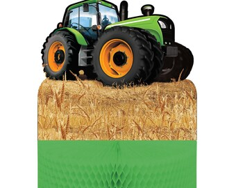 Green Tractor Time Centerpiece Farm Barnyard Party Table Decoration Supplies Photo Prop