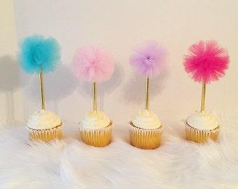 12 Pom Pom Cupcake Toppers, Tulle Cupcake Pom Pom