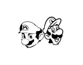 Mario & Luigi Decal Set - Super Mario Bros / Super Mario Decal / Gamer Decal