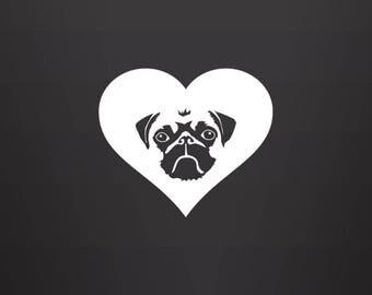 Pug Decal - Pug Lover / Pug Gift / Pug Mom