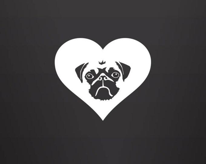 Featured listing image: Pug Decal - Pug Lover / Pug Gift / Pug Mom