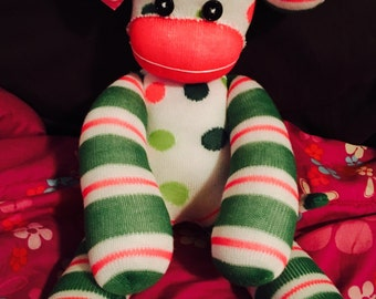 Plush Sock Monkey Stripes and Dots