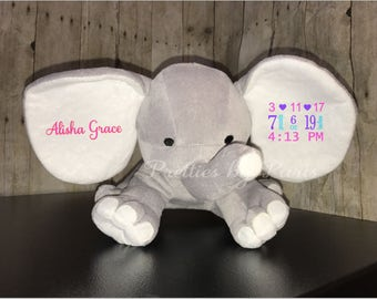 Plush Elephant - Big Ears - Baby Stats Plush - Big Ear Elephant - Birth Information - Baby Gift - Birth Announcement - Elephant Ears - Plush