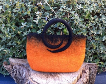 Hand felted hand bag, orange and black, merino wool