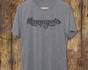Minneapolis Vintage Graphic Tee  - Minneapolis Gifts - Vintage Gray T-Shirts - Vintage Style tshirt - Gift Ideas - Maroon Retro tees