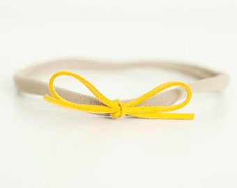 Mustard Suede Bow headband for Newborn-24 months