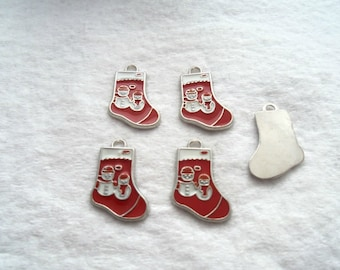 Enameled Christmas Charms - Stockings with Snowmen (1364)