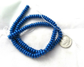 1 Strand 6mm Glass Pearl Rondelle Beads Blue (B59a7/102f5/136c2)