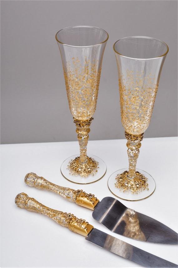 Wedding Glasses And Cake Server Set Cake Knife Gold Bride And