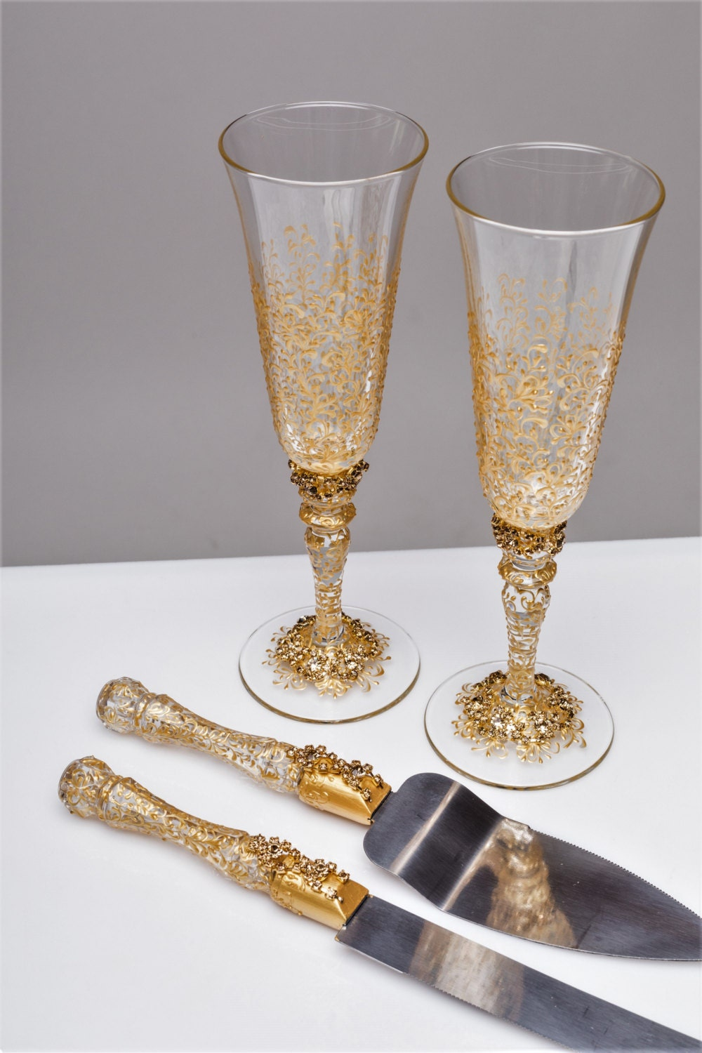 wedding glasses and cake server set cake knife gold bride and