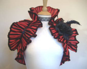 Gothic shrug, opera shrug, steampunk shrug, burlesque costume, gothic opera shrug, black rose, pirate costume, red black boa shrug bolero