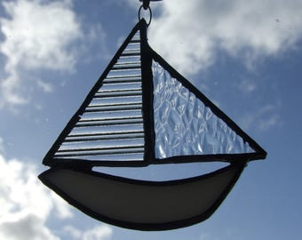 Stained Glass Sail Boat Sun Catcher in White and Clears