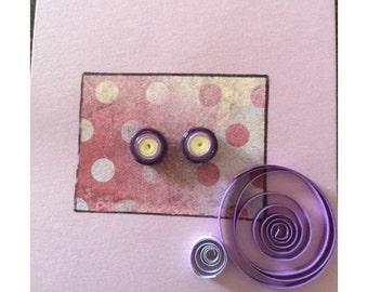 Purple Yellow Dots - Stud Earring Set