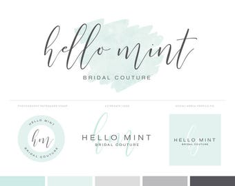Watercolor Logo Design Photography Logos Branding Kit with Mint Logo and Watermark - Premade Logos Branding Package