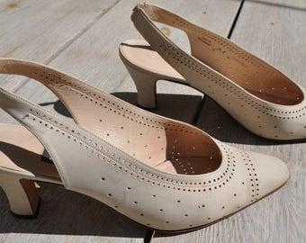 Vintage beige leather slingback shoes BALLY Size 5.5 38.5 FR