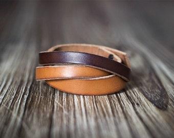 Minimalist light and dark brown contrast color leather bracelet - Women's bracelet - Men's bracelet- Brown bracelet - Men's gift