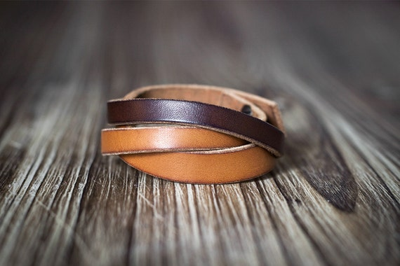 Minimalist Light And Dark Brown Contrast Color Leather
