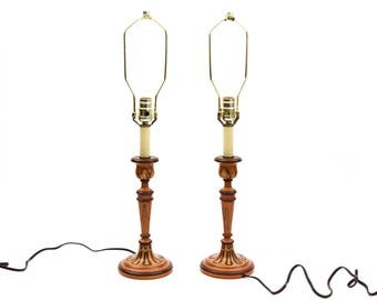 A Pair of Hand Painted Wood Candlestick Folk Boho Table Lamps