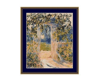 The Garden Gate Counted Cross Stitch Pattern, Claude Monet, Instant Floral PDF Digital Download Cross Stitch Chart (P-064)