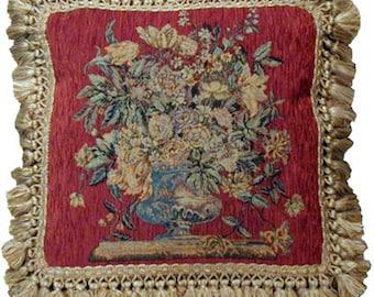 Aubusson Vase Chenille Terracotta pillow