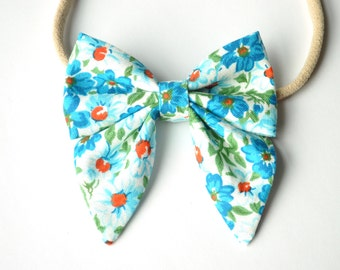 Blue Floral Elle Hairbow - Newborn cotton Hair Bow - Sailor Bow with tails - Baby Headband - Toddler Bows - Nylon Headband or Alligator Clip