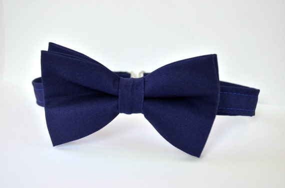 solid navy blue bow tie for adjustable bow tie handmade