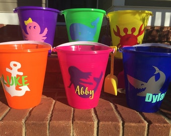 "Personalized ""Monogrammed"" Kids Sand Buckets; Beach Buckets"