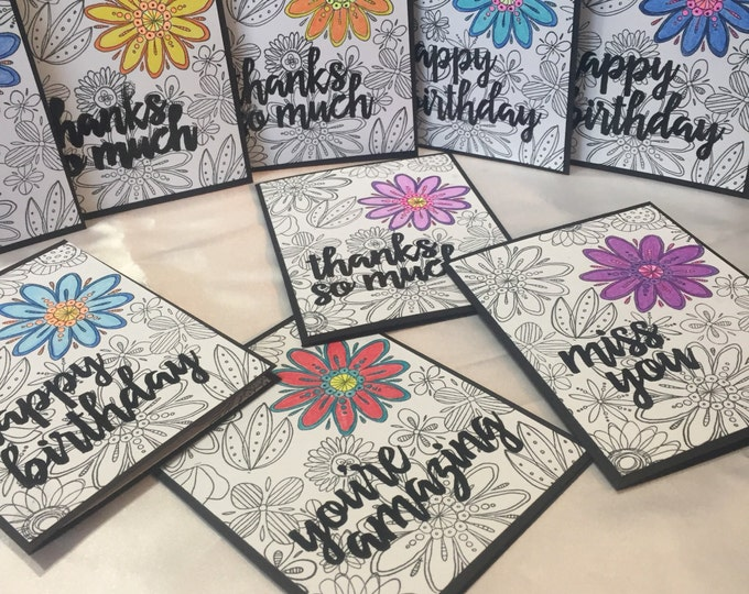 Handmade Card, Stamped Card, Birthday Card, Miss You Card, Thank You Card, Doodle Card, Custom Card