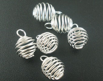 Cage Pendants, Bead Cages, Silver Cages, Spiral Bead Cages, Spiral Findings, 9mm Cages, 8mm Cages, Cage Findings,