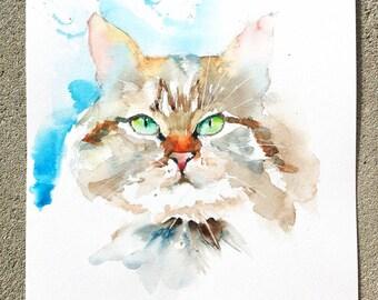 """Original Watercolour - Free delivery """"Portrait cat Maine Coon (color hair cat feline gentle eyes)"""""""