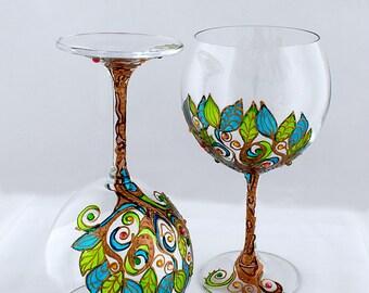 Wine goblets Wine Glasses CRYSTAL Wedding Glasses Hand painted Klimt Decor Glasses The Tree of Life Gothic glasses Wedding gift Set of 2