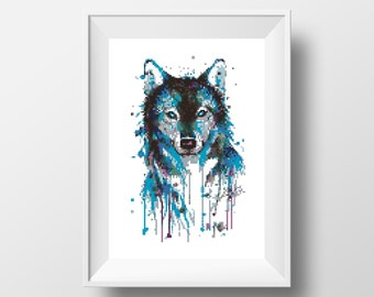Watercolor Cross Stitch Pattern Wolf Animal Husky Printable PDF Digital Dog Embroidery Animals Geometric Modern Cute Wall art Decor