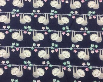 "1/2 yard Sloth fabric, By the Half Yard, 44"" wide, 100% cotton"