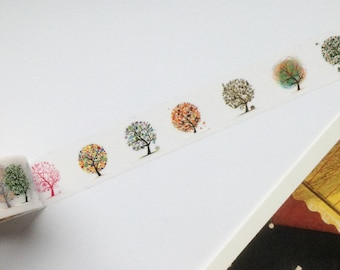 Illustrated Trees Washi Tape 15mm x 10m Dreamy Nature theme